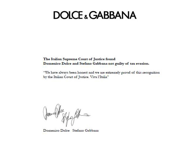 It is finished, the Supreme Court acquitted the Dolce and Gabbana (photo 1)