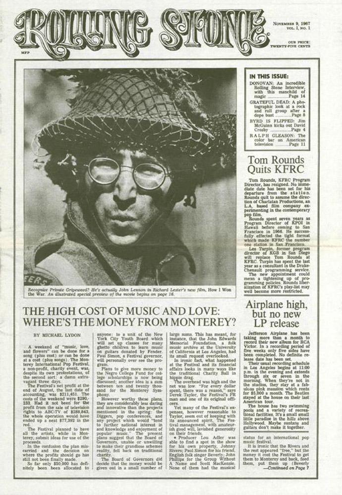 Первый выпуск Rolling Stone (9 ноября 1967г.)