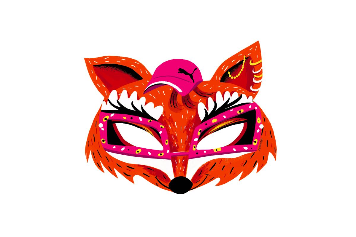 Иллюстратор Евдокия Харитонович придумала карнавальные маски для Puma и Lamoda (фото 1)