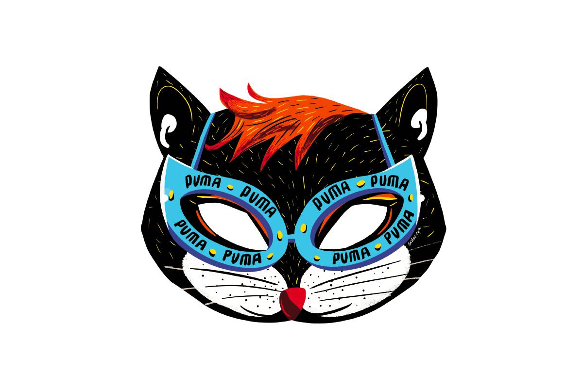 Иллюстратор Евдокия Харитонович придумала карнавальные маски для Puma и Lamoda (фото 2)