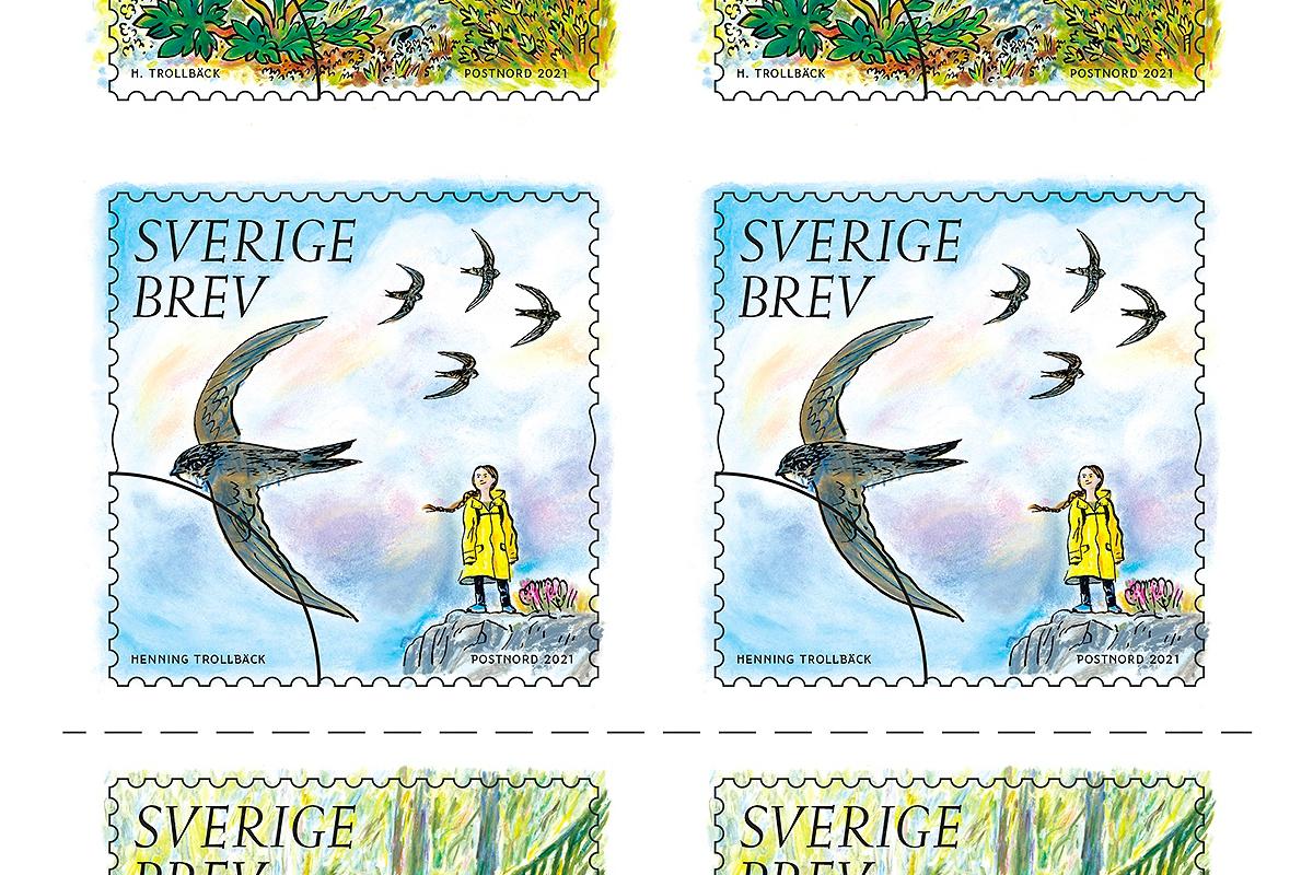 Почтовая компания PostNord выпустила марку с Гретой Тунберг (фото 1)