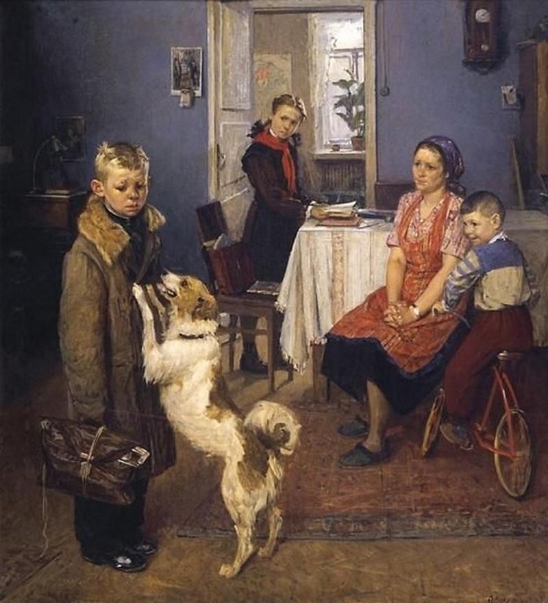 "... ""Опять двойка"", 1952. Масло, холст: https://www.buro247.ru/culture/news/naydena-rannyaya-versiya..."