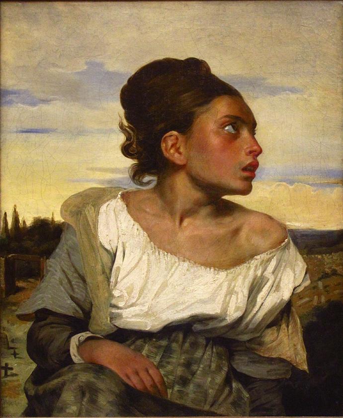 """Эжен Делакруа """"Сирота на кладбище"""", 1824"""