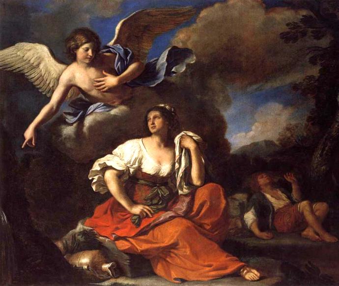 """Гверчино. """"Явление ангела Агари и Измаилу"""", 1652. Передана Лондонской Национальной галерее"""