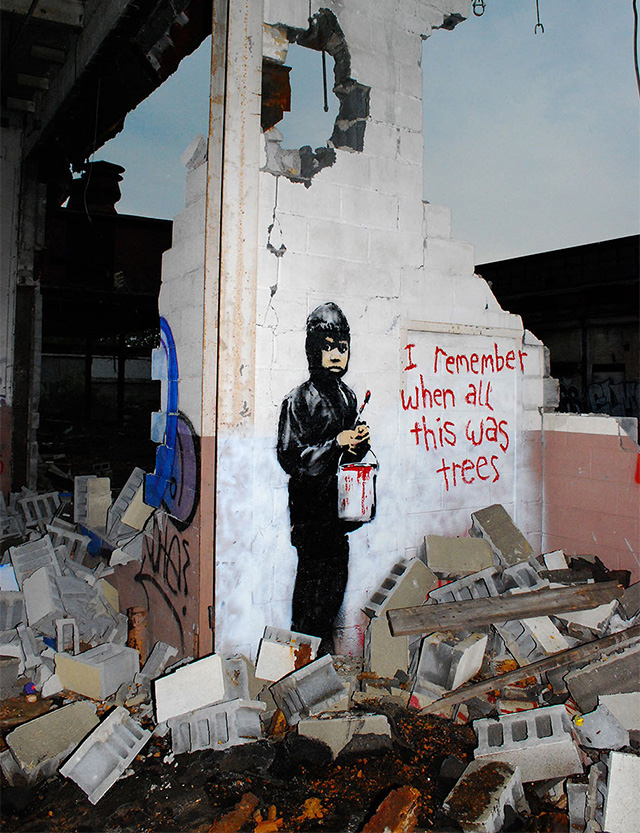 banksys artwork in detroit essay Banksy, the pseudonym used by a graffiti artist whose work first appeared in bristol, england, painted the detroit mural on the wall of the crumbling packard factory in 2010 the mural is believed to show banksy's fingerprints on the red paint can the boy in the piece is carrying.