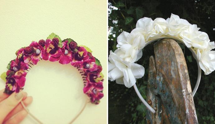 Как сделать ободки из искусственных цветов