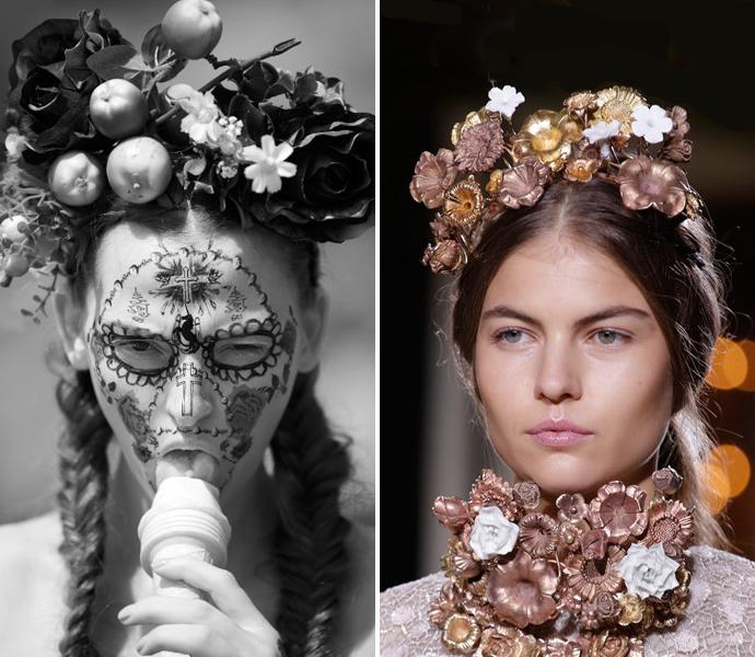 Тренд: цветочные ободки и венки (фото 7)