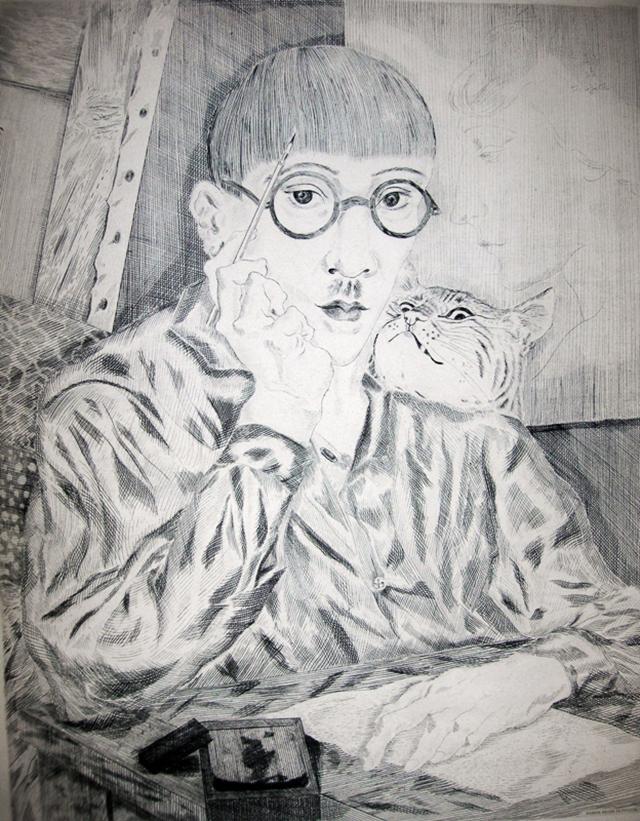 Леонар Фужита «Автопортрет в мастерской»
