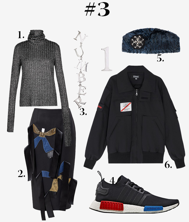 1. Водолазка George Keburia (INDEXflat). 2. Юбка J.Kim (Air Concept Store). 3. Серьги Dzhanelli Jewellery (Poisondrop.ru). 5. Шапка Efremov for Young & Beautiful. 6. Куртка ZDDZ (Aizel.ru)