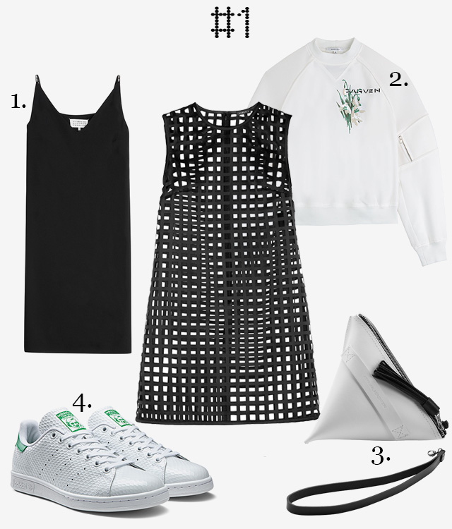 1. Платье Maison Margiela. 2. Свитшот Carven. 3. Сумка Asya Malbershtein. 4. Кроссовки adidas Originals Stan Smith Honeycomb