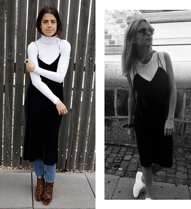 Назад в 90-е: платье на тонких бретелях + белая футболка (фото 5)