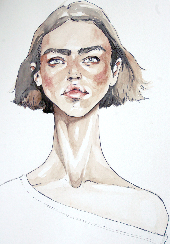 Fashion sketches colored pencils 90