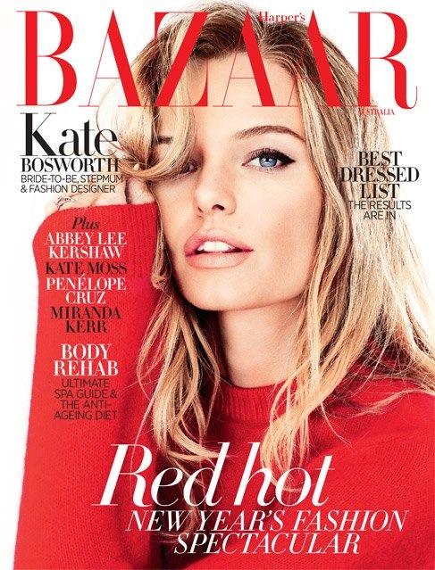 Кейт Босуорт на обложке январского Harper's Bazaar (фото 1)