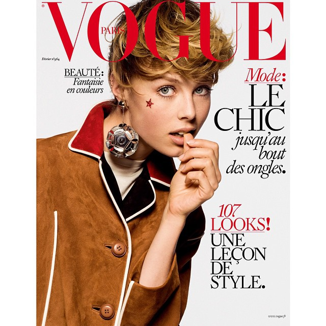 Edie Campbell on the new cover of Vogue Paris by Inez & Vinoodh. @inezandvinoodh @ediebcampbell