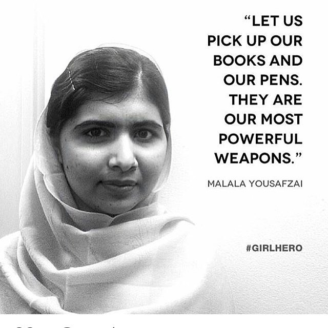 My #GIRLHERO Malala Yousafzai an activist for female education. Malala has been fighting for education for all. When she was just 11 years old Yousafzai wrote a blog under a pseudonym for the BBC Urdu detailing her life under Taliban occupation. I find her a huge source of inspiration, she shows what one person can do to make a difference and improve the lives of many. At age 17 she became the youngest Nobel Prize laureate. @girlupcampaign