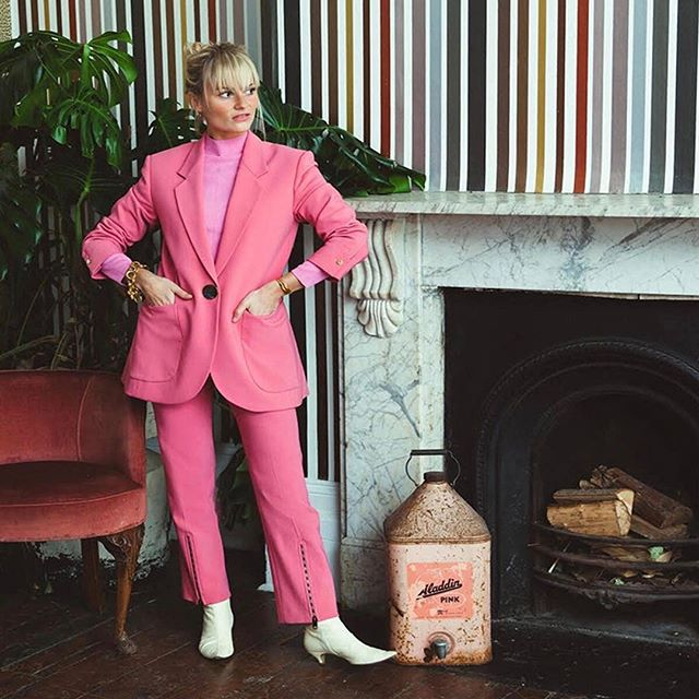 @pandorasykes wrote a very important love letter to pink suits, finally rescuing from the trenches of Pepto Bismol association. Link in bio. (  @evaksalvi)