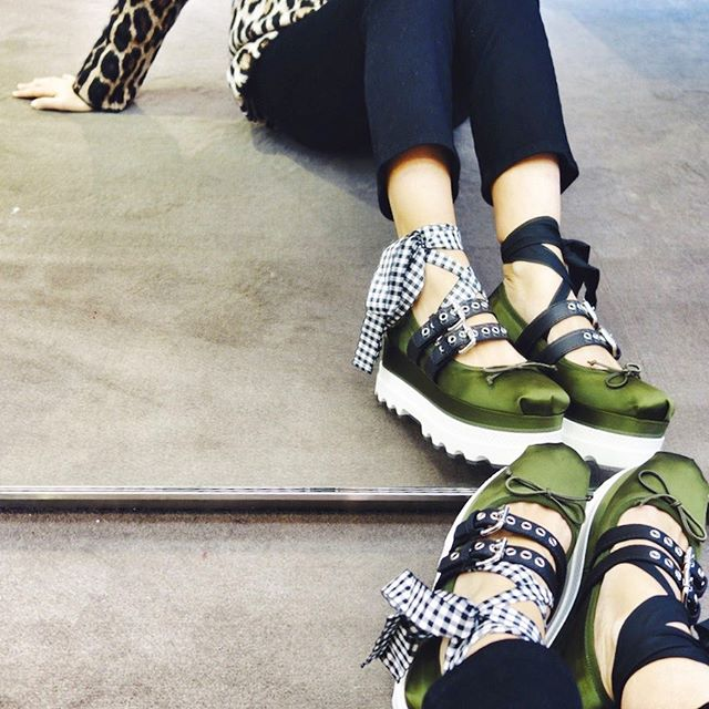 Debating the platform punk ballerina sneaker hybrid concoction  @miumiu    #shoes #shopping #miumiu