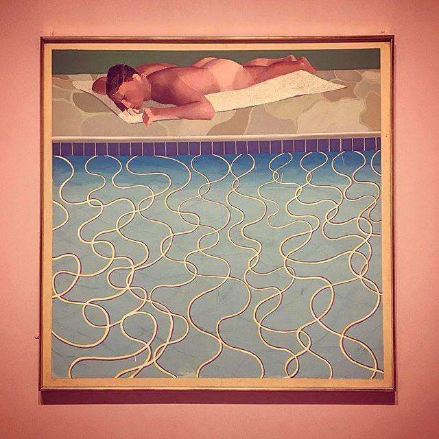 The only thing better than skinny dipping in the Hollywood Hills is this David Hockney painting of skinny dipping in the Hollywood Hills from his brilliant retrospective at the Tate Britain. ('Sunbather,' 1966)