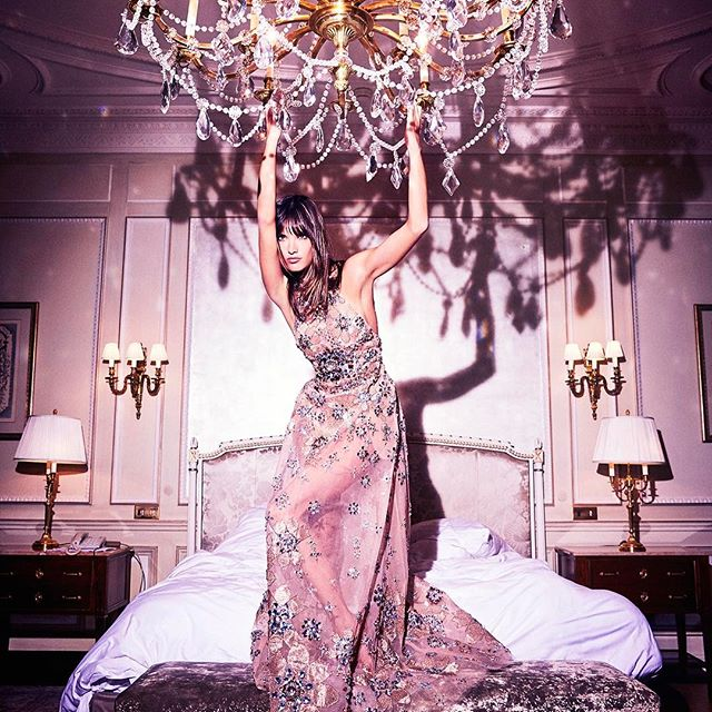 @alessandraambrosio wearing @eliesaabworld #couture for  @elle_russia #april #issue by @ellenvonunwerth