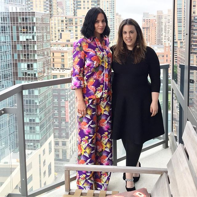 With new mommy @themisshapes celebrating our collaboration with @paperlesspost Thank you to @baibakovart for being the loveliest host. #marykatrantzou #marykatrantzouxpp ##res18