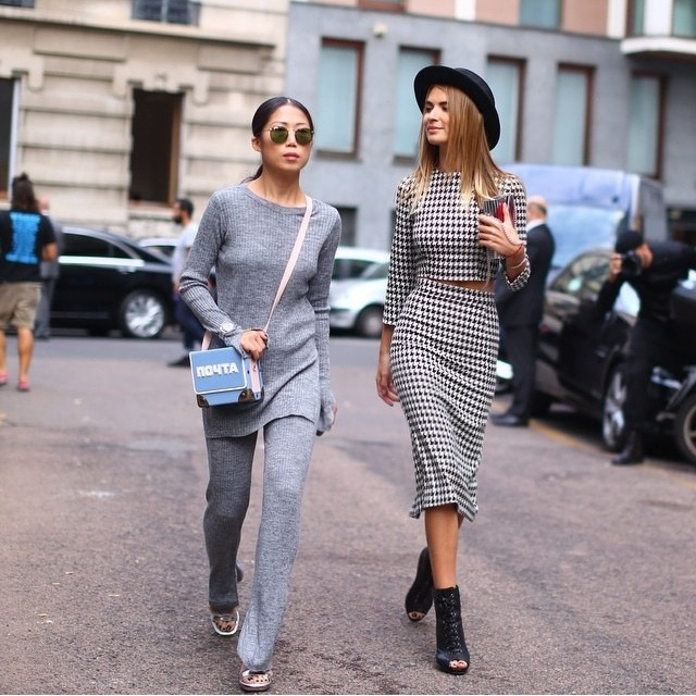 Start of #MFW with my lovely @oksanaon by @nytimesfashion  Thank you @altamiranyc for the picture! #black #white #grey #milan