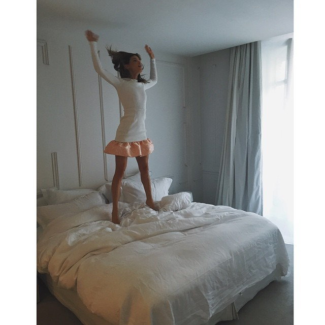 Always jump in bed! Dress by @openingceremony At hotel @maisonmargiela
