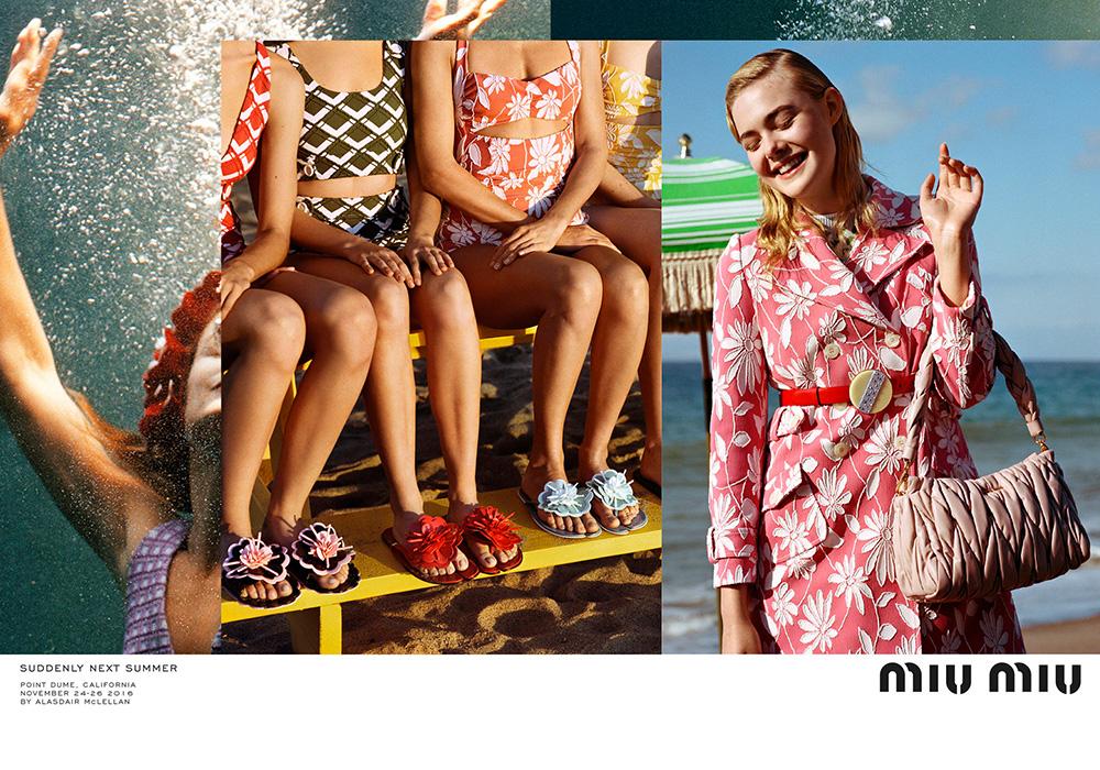 Miu Miu представили рекламную кампанию «Внезапно будущим летом» с актрисой Эль Фаннинг. Фотограф: Аласдейр Маклеллан