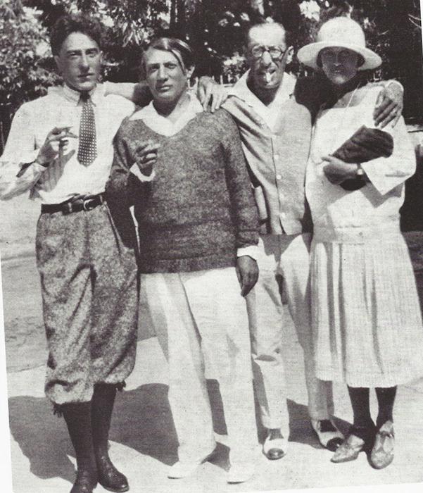 Жан Кокто, Пабло Пикассо, Игорь Стравинский и Ольга Хохлова. 1917