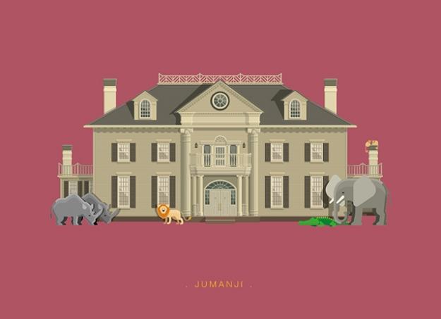 Дома из известных фильмов и сериалов на иллюстрациях одного художника