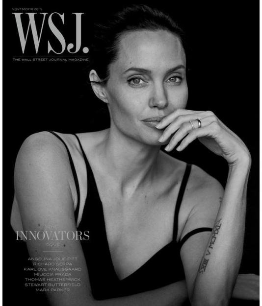 Для обложки WSJ.: Анджелина Джоли в объективе Питера Линдберга