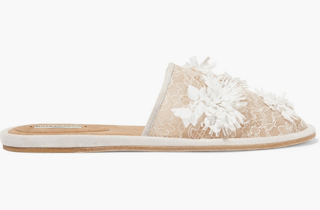 "Balenciaga<p><a target=""_blank"" href=""https://www.net-a-porter.com/ua/en/product/691914/balenciaga/suede-trimmed-embellished-lace-slippers"">net-a-porter.com</a></p>"