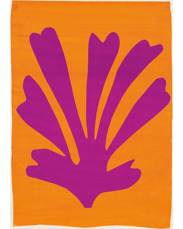Анри Матисс. Palmette (Feuille violet sur fond orange), 1947