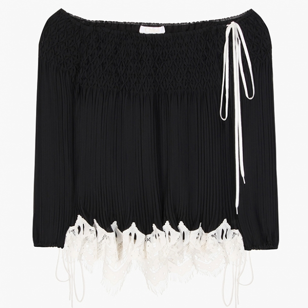 "Chloé<p><a target=""_blank"" href=""http://www.mytheresa.com/en-de/off-the-shoulder-pleated-blouse-565343.html?catref=category"">mytheresa.com</a></p>"