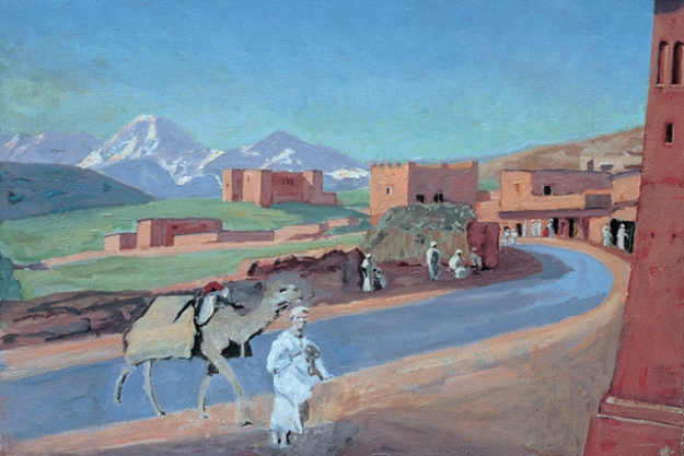 Marrakech, a man leading a camel, 1958
