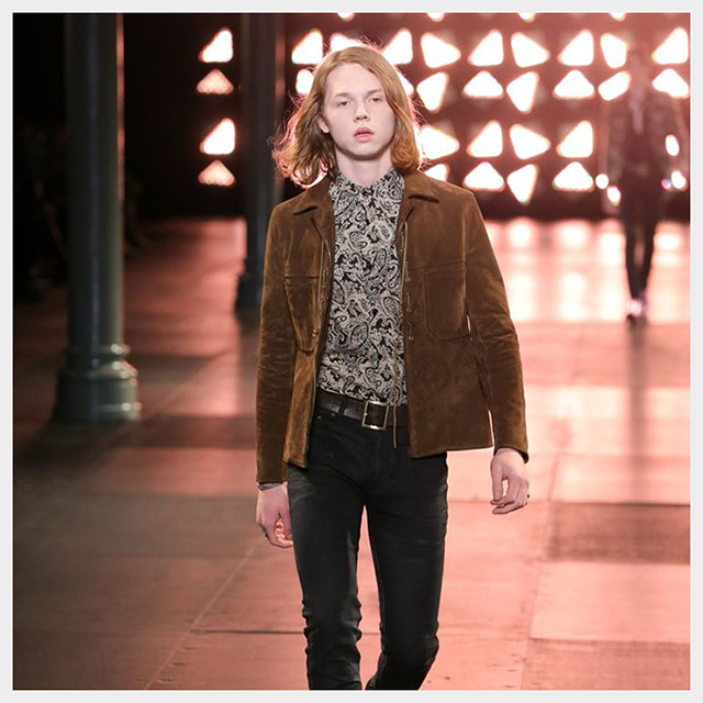 Джек Килмер на показе Saint Laurent S/S 2015