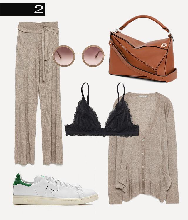 Кардиган и брюки Zara, сумка Loewe, бюстгальтер Monki, кеды adidas by Raf Simons, очки The Row
