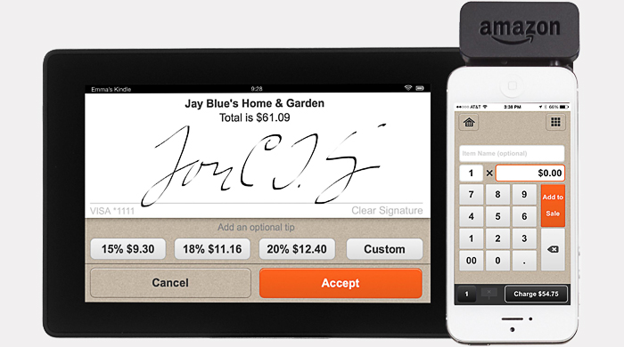 Мобильное устройство Amazon для считывания кредитных карт