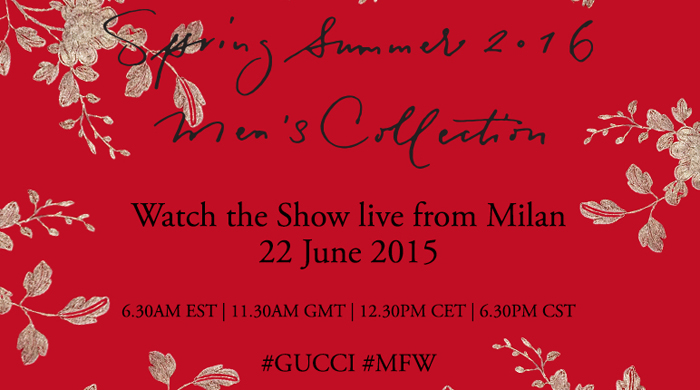 Прямая трансляция мужского показа Gucci, весна-лето 2016