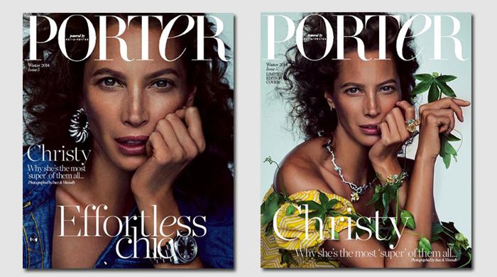 Кристи Тарлингтон на двух обложках журнала Porter